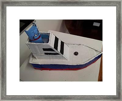 Cat In Speed Boat Framed Print