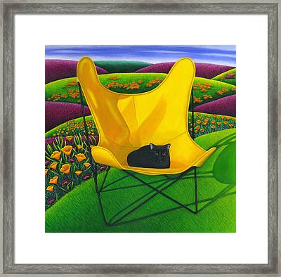 Cat In Butterfly Chair Framed Print