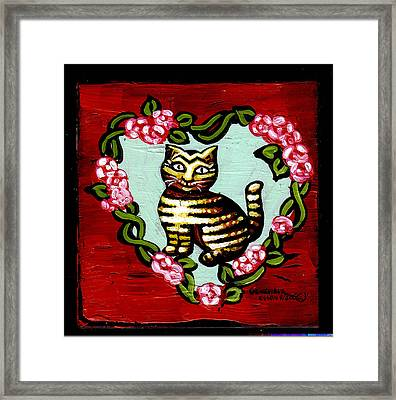 Cat In Heart Wreath 2 Framed Print by Genevieve Esson