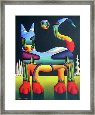 Cat In Landscape In Cat With White Trees  Framed Print by Alan Kenny