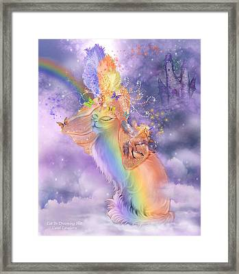 Cat In The Dreaming Hat Framed Print by Carol Cavalaris