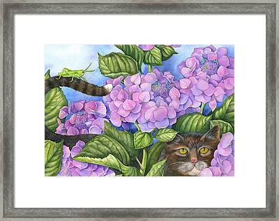 Cat In The Garden Framed Print by Mindy Lighthipe
