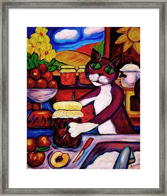 Framed Print featuring the painting Cat In The Kitchen Bottling Fruit by Dianne  Connolly