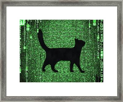 Framed Print featuring the digital art Cat In The Matrix Black And Green by Matthias Hauser