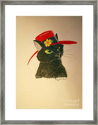 Cat In The Red Hat Framed Print by Wendy Coulson