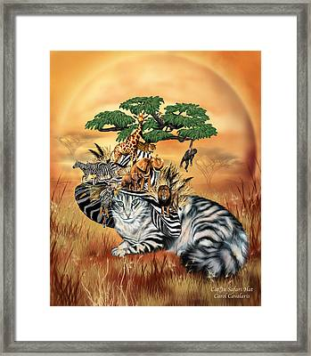 Cat In The Safari Hat Framed Print