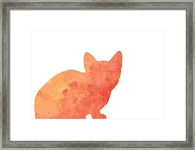Watercolor Orange Cat Silhouette Framed Print