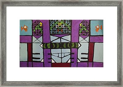 Cat Looking In A Mirror At A Fish And Bird Framed Print