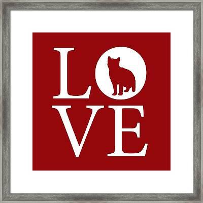 Cat Love Red Framed Print