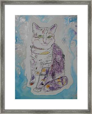 Framed Print featuring the painting Cat Named Jade by AJ Brown