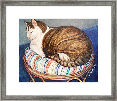 Framed Print featuring the painting Cat Nap by Laura Aceto