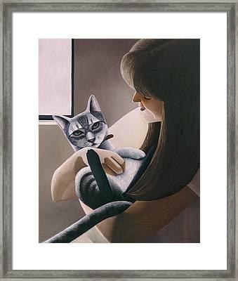 Cat Nestled Framed Print by Carol Wilson