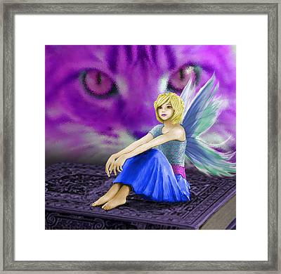 Cat Observes Fairy Framed Print