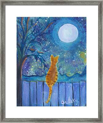 Cat On A Fence In The Moonlight Framed Print by Paintings by Gretzky