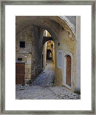 Framed Print featuring the photograph Cat On A Quiet Street In Viviers by Allen Sheffield