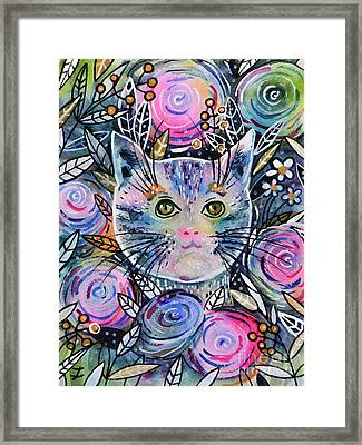Framed Print featuring the painting Cat On Flower Bed by Zaira Dzhaubaeva