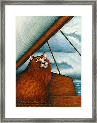 Cat On Sailboat Framed Print by Carol Wilson