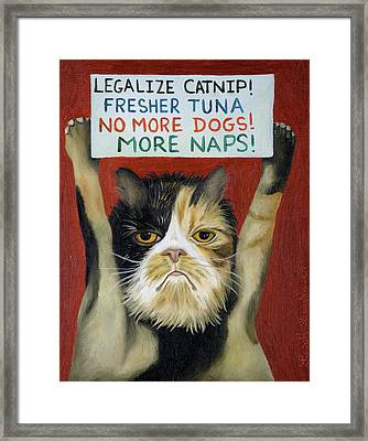Cat On Strike Framed Print by Leah Saulnier The Painting Maniac
