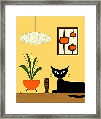 Cat On Tabletop With Mini Mod Pods 3 Framed Print
