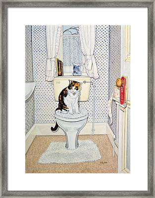 Cat On The Loo Framed Print