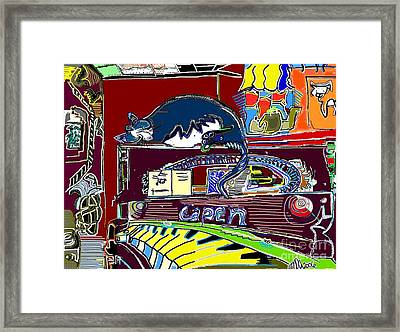Cat On The Piano Framed Print by Michael OKeefe