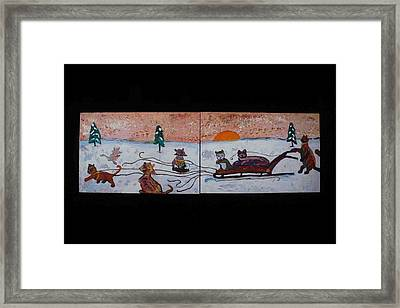 Framed Print featuring the painting Cat Sled Team by AJ Brown
