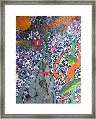 Cat Smelling A Flower 3 Framed Print by William Douglas