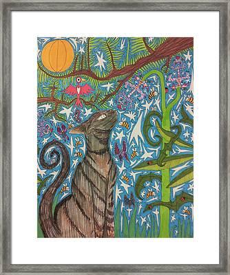 Cat Smelling A Flower 6 Framed Print