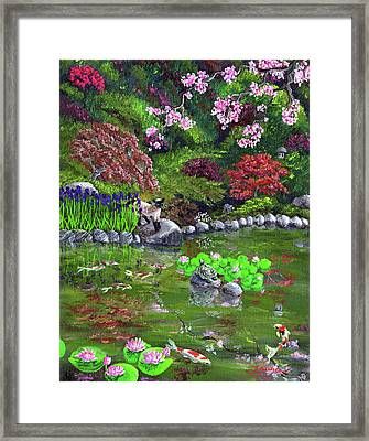 Cat Turtle And Water Lilies Framed Print