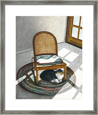 Cat Under Rocking Chair Framed Print