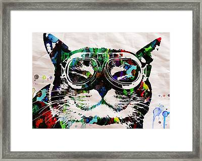 Cat Watercolor Rainbow Dreaming In Color Poster Print By Robert R Framed Print by Robert R Splashy Art Abstract Paintings