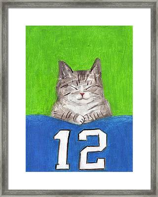 Cat With 12th Flag Framed Print