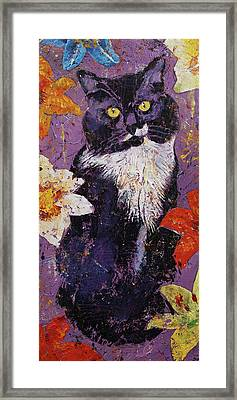 Cat With Tiger Lilies Framed Print