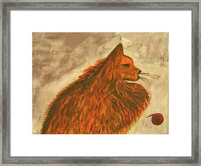 Cat With Yarn Framed Print