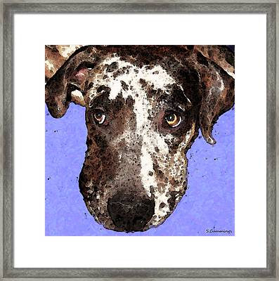 Catahoula Leopard Dog - Soulful Eyes Framed Print by Sharon Cummings