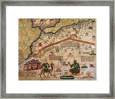 Catalan Map Of Europe And North Africa Charles V Of France In 1381  Framed Print by Abraham Cresques
