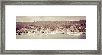 Catalina Island Avalon Bay Retro Panorama Photo Framed Print by Paul Velgos