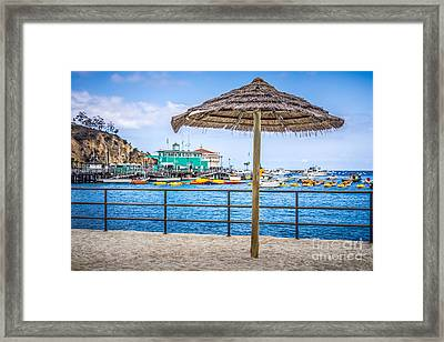Catalina Island Straw Umbrella Picture Framed Print