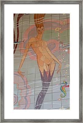 Catalina Tile Mermaid Framed Print by Jeff Lowe