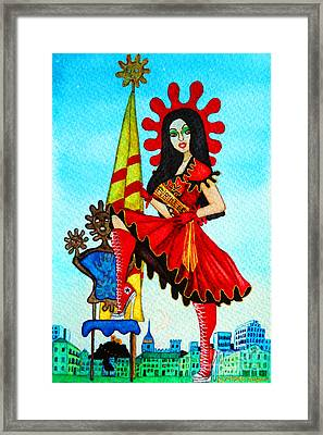 Framed Print featuring the painting Catalan Girl In Converse by Don Pedro De Gracia