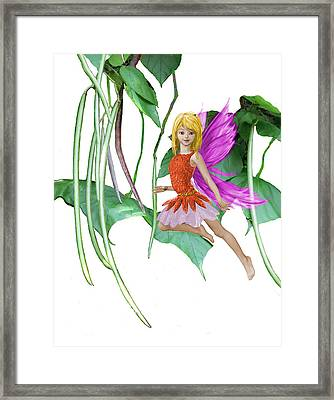 Catalpa Tree Fairy Among The Seed Pods Framed Print
