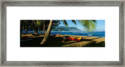 Catamaran On The Beach, Hanalei Bay Framed Print by Panoramic Images