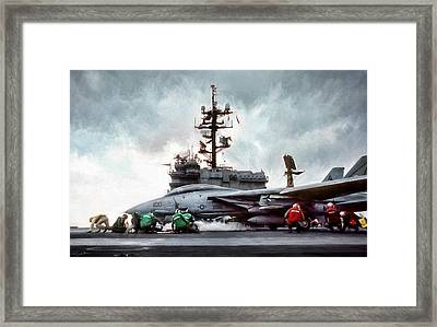 Catapult Crew Framed Print by Peter Chilelli