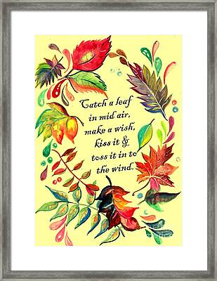Catch A Leaf In Mid Air Framed Print