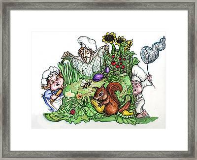 Catch-a-squirrel Framed Print by Rae Chichilnitsky