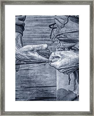Catch And Release Rainbow Trout In Blue Monotone Framed Print by Jennie Marie Schell