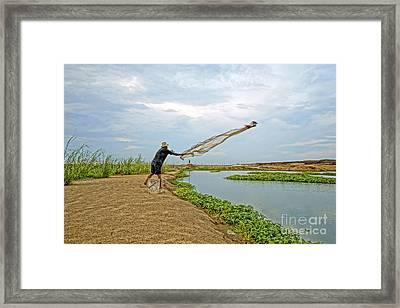 Catch Fish Framed Print by Arik S Mintorogo