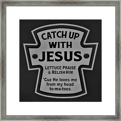 Framed Print featuring the photograph Catch Up With Jesus B W by Rob Hans