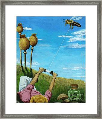 Catchin' A Buzz - Fantasy Oil Painting Framed Print by Linda Apple