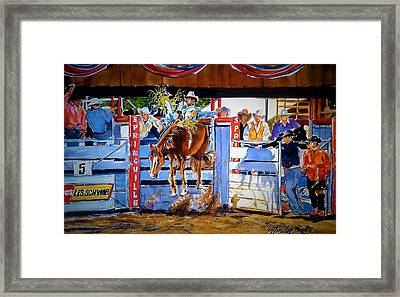 Catching Air At Springville Rodeo Framed Print by Therese Fowler-Bailey